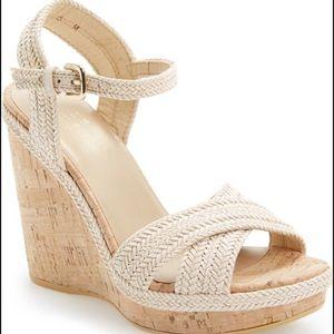 Stuart Weitzman Minx Wedge Sandals Cream, 8.5